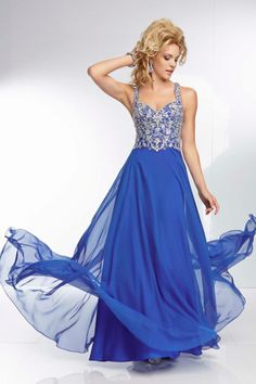 2014 A Line Chiffon Prom Dress With Twist Back Straps Beaded Bodice Floor Length CAD 182.39 LBPPQT9BQCT - BrandPromDresses.com