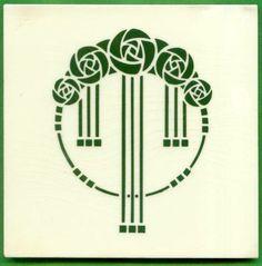 Jugendstil Fliese Kachel, Art Nouveau Tile, NSTG, Blütenkreis - Flower Circle