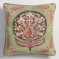 Crafted in India of soft cotton velvet, our exclusive pillow features a bright, embroidered floral motif on a soothing sage green background for a…