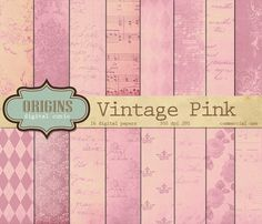 Vintage Pink Digital Paper by Origins Digital Curio on @creativemarket