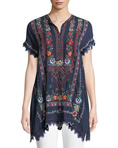 Johnny Was Plus Size Liesse Short-Sleeve Embroidered Georgette Easy Tunic Embroidered Clothes, Embroidered Tunic, Johnny Was Clothing, Tunics Online, Hippy Chic, Designs For Dresses, Pakistani Outfits, Fashion 2020, Boho Fashion