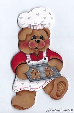 HP TEDDY BEAR Baking Gingerbread Cookies FRIDGE MAGNET #Handpainted