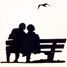 Love, two elderly people sitting on a bench in the park, drawing made with ink, by Grietje Drooglever