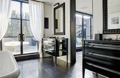 lacquer black, lucite, black doora, brass hardware