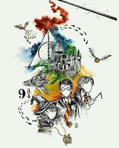 harry potter fan art wizarding world wizard witch hogwarts magic fantasy jk rowling potterhead tattoo watercolor deathly hallows ronweasley hermione granger platform 9 hogwarts express snitch Harry Potter Tumblr, Harry Potter Anime, Harry Potter Fan Art, Harry Potter Tattoos, Memes Do Harry Potter, Images Harry Potter, Harry Potter Thema, Cute Harry Potter, Harry Potter Drawings
