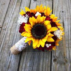 Burgundy Sunflower Bridesmaid Bouquet, Sunflower Bridesmaid Bouquet, Sunflower and Burgundy Bouquet - Wedding Rose Wedding, Fall Wedding, Wedding Flowers, Dream Wedding, Rustic Wedding, Wedding Stuff, Wedding Bouquets With Sunflowers, Wedding Dresses, Elegant Wedding