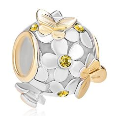 Pugster New 925 Sterling Silver Flower Butterfly Crystal Charm Bead Fits Pandora Charms Bracelet (November Birthstone)