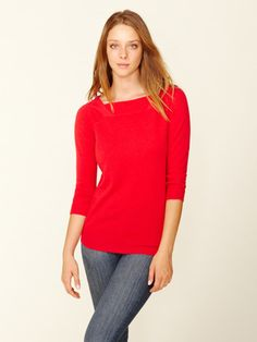 Cashmere Seamed Boatneck Sweater by Barrow & Grove