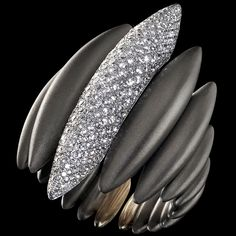 Mattia Cielo - Ghiaccio - Ring 4 cm 750/1000 white gold and titanium - white diamonds ct. 1,46