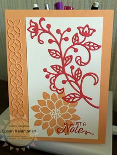 Oh my goodness, this was the first time I used my Big Shot Die Brush and I love it.  It's my new favorite tool.  I also am in love with the Flourish Bundle - both the stamp set and the dies are so beautiful.  More details on my blog http://www.stampinup.net/blog/76561/entry/flourishing_bundle