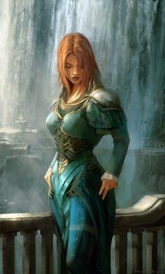 lovelyGirl by artemkhorchev | Female knight, armor, Blue waterfall | #knight Lady, woman |