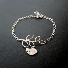 Spotted Sparrow Bird bracelet sterling silver  leaf by untie, $28.00
