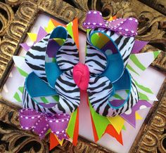 HAIRBOWS Zebra Boutique Hairbow with by BumbleBeeBowTeek on Etsy, $7.50