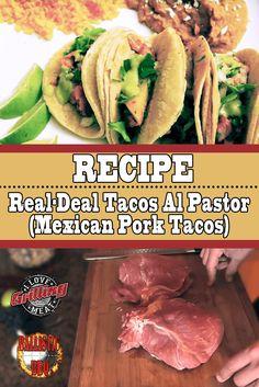 Mexican Pork Tacos Recipe (Crispy Juicy Tacos Al Pastor) - Tacos Ideen Tacos Al Pastor Recipe, Taquitos Al Pastor, Smoked Pork Shoulder, Pork Shoulder Recipes, Carnitas, Pork Recipes, Mexican Food Recipes, Tortilla Recipes, Dinner Recipes