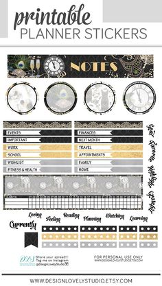 Gatsby vibes here! Check out this gorgeous New Year's Eve themed printable planner stickers kit for your Erin Condren Life planner notes page! from Design Lovely Studio. Hourly Planner, S Planner, Cute Planner, Planner Supplies, Erin Condren Life Planner, Printable Planner Stickers, Printables, Planner Decorating, Gatsby