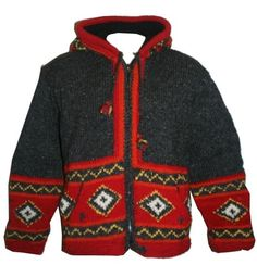014 AGAN TRADERS WOOL FLEECE CARDIGAN ~NEPAL