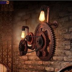 Loft Style Industrial Creative Wood Gear Vintage Wall Light For Home Antique Water Pipe Lamp Bedside Edison Wall Sconce Design Steampunk, Steampunk Interior, Steampunk Home Decor, Steampunk Furniture, Steampunk House, Vintage Industrial Furniture, Industrial Interiors, Industrial Design, Industrial Nursery