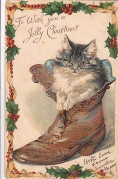 Christmas nister chromo cat in boot lovely early card Vintage Christmas Images, Noel Christmas, Christmas Animals, Victorian Christmas, Retro Christmas, Christmas Cats, Vintage Holiday, Christmas Pictures, Easter Pictures