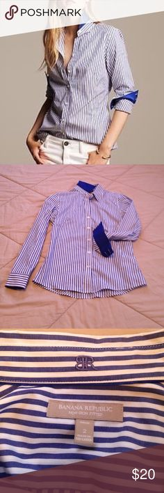 Banana Republic button up EUC, no signs of wear, Banana Republic non-iron fitted top!  Feel free to ask for more pics or make an offer! Banana Republic Tops Button Down Shirts