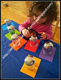 Threading activity with colored matchsticks and plastic spice shakers. Great activity for visual-spatial coordination and fine motor skills for toddlers and preschoolers.