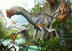 Europasaurus Paleo-Art Contest by pauloomarcio Two Europasaurus are close to the lake to eat some vegetables and a swim, when a flock of Germanodactylus fly out of the jungle to eat fish.