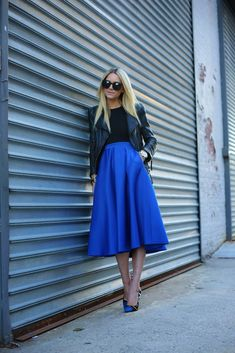 Atlantic-Pacific: cobalt. Midi + moto jacket + leopard shoes = edgy femme