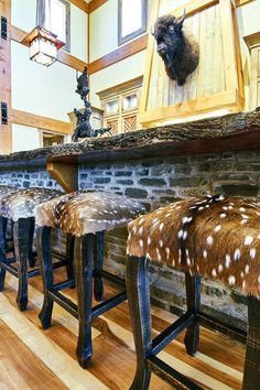 Plywood Furniture, Cowhide Furniture, Cabin Furniture, Western Furniture, Furniture Design, Western Decor, Country Decor, Western Bar, Hunting Lodge Decor