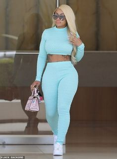 Business woman: Blac Chyna stepped out Tuesday in a sexy ensemble after a business meeting in Beverly Hills Long Sleeve Turtleneck, Long Sleeve Crop Top, Chic Outfits, Fashion Outfits, Model Outfits, Black Chyna, Miami Fashion, Street Fashion, Pants For Women