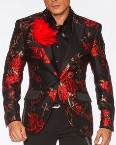 Blazer Outfits Men, Mens Fashion Blazer, Suit Fashion, Men Blazer, Tuxedo Suit, Tuxedo For Men, Red Prom Tuxedo, Semi Casual Outfit, Prom Blazers