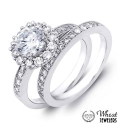 Round Halo Engagement Ring with Diamond Accents and Matching Wedding Band #engagementring #weddingband