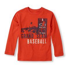 Long Sleeve 'Grand Slam Baseball' Graphic Tee   The Children's Place