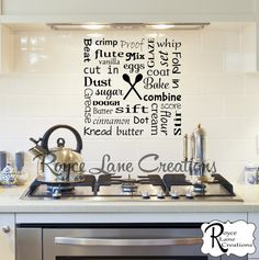 Bakers Kitchen Word Art Wall Decal Kitchen by RoyceLaneCreations