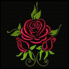 Roses are Red Machine Embroider Design Set – Handstickerei Hand Embroidery Tutorial, Embroidery Flowers Pattern, Rose Embroidery, Free Machine Embroidery Designs, Embroidery Applique, Flower Patterns, Embroidery Stitches, Bordado Floral, Embroidery Techniques