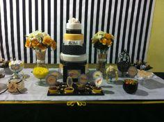 Festa amarelo preto e branco
