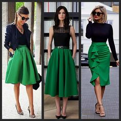 Love the color combo! Love the color combo! Full Skirt Outfit, Green Skirt Outfits, Dress Outfits, Fall Outfits, Fashion Outfits, Womens Fashion, Dresses, Classy Outfits, Casual Outfits