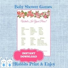 Floral  Baby Shower Game What's in Your Purse? Printable game. #babyshowergames #printablebabyshowergames #whatsinyourpurse #flowerbabyshower