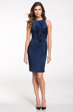 St. John Collection Ruffle Satin Dress | Nordstrom