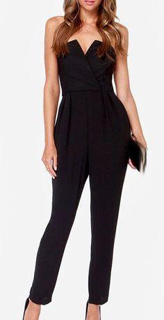 Sexy Black V Neck Off the Shoulder Polyester Jumpsuit
