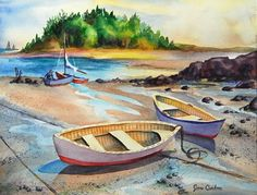 Watercolor Seascape Painting with Dory Boats by jancondon on Etsy, $250.00