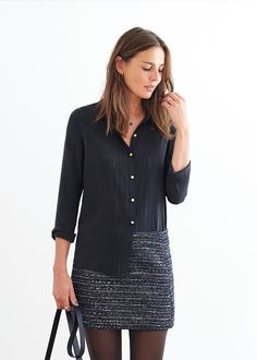 sézane tomboy shirt in black silk with pointelle detail Casual Chic Style, Preppy Style, Next Clothes, Clothes For Women, Chic Outfits, Fashion Outfits, Women's Fashion, Look Short, Dressing