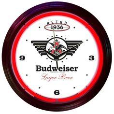 Budweiser Beer Neon Clock Retro Bar Sign Bud Neonetics