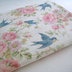 1920's 30's Vintage Bluebird and Cabbage Rose Fabric by InWiththeOldVintage