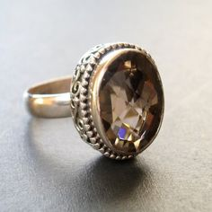 Beautiful~ Hot Chocolate Smoky Topaz Quartz Sterling Silver Ring