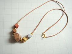 Wood&Brass Geometric Necklace Handpainted Wood by LiKeGjewelry