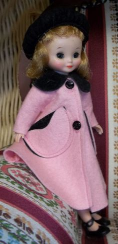 "Vintage BETSY McCALL 8"" DOLL in Pink Coat & Hat"