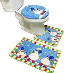 $9.99 New 3pcs Snowman Bathroom Rug Mat Contour Set  From Crover