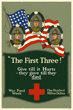 Examples of vintage Russian World War 1 propaganda posters. Pictures of Russian art used for liberty war bonds, recruitment of soldiers, weapons, & the Red Cross.