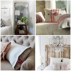 Bottom right:  I like the contrasting extra fabric on the pillowcase that tucks inside. What a cool idea.