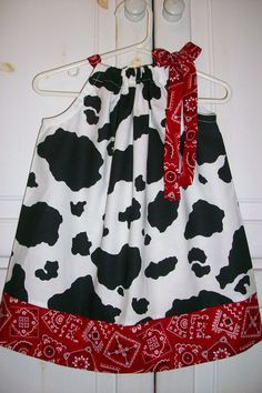 Pillowcase Dress COW and BANDANA Red Black by lilsweetieboutique
