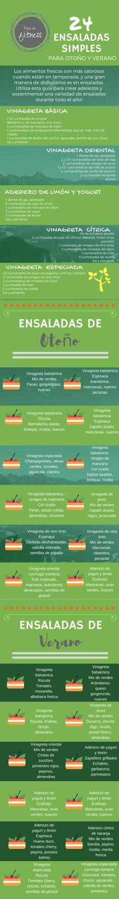 24 opciones de ensaladas simples para otoño y verano!